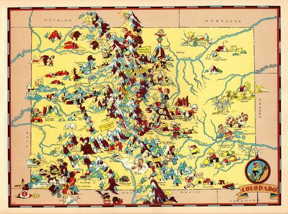 1930\'s Vintage Colorado Picture Map State Cartoon Map Print Gallery ...