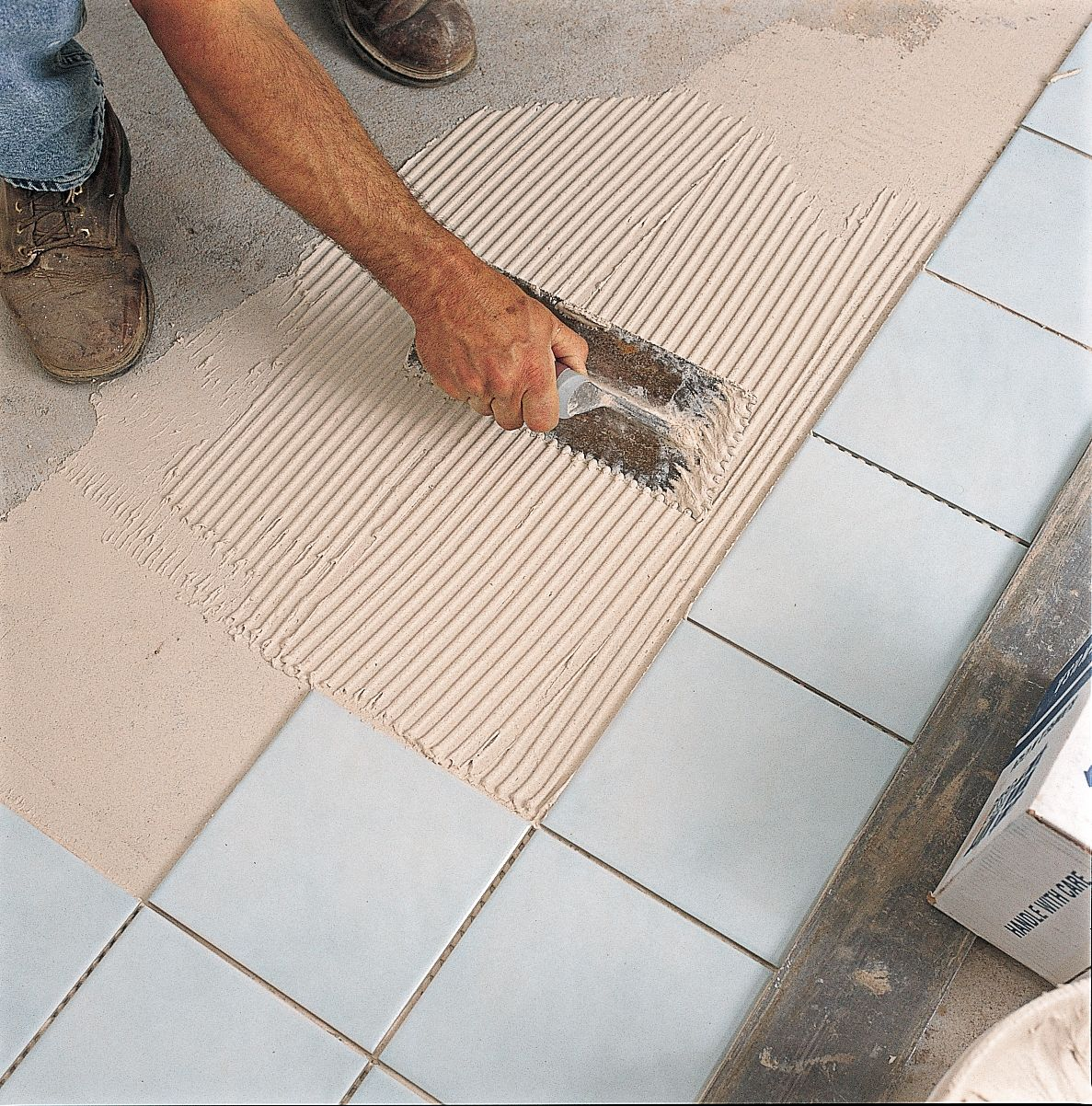 How to tile a floor spreads and then and flats how to tile a floor dailygadgetfo Gallery