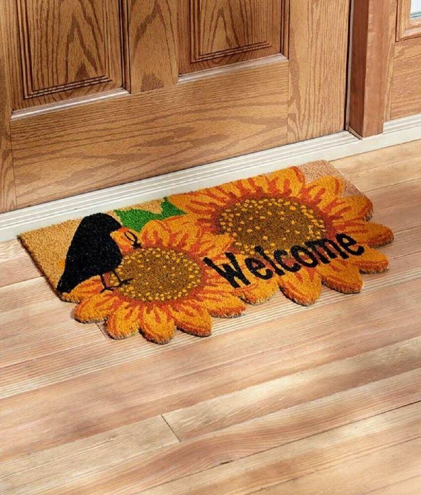 Sunflower Welcome Mat Weatherproof Front Door Mat Whimsical Seasonal Home Decor Unbranded Country Door Mat Welcome Door Mats Seasonal Home Decor
