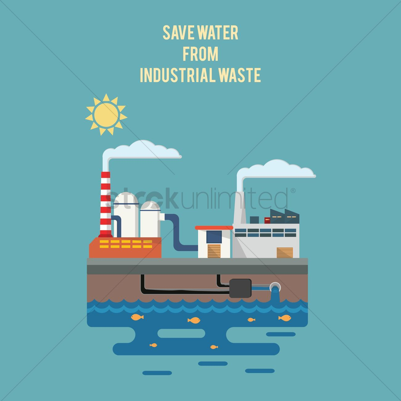 Save water from industrial waste vectors stock clipart