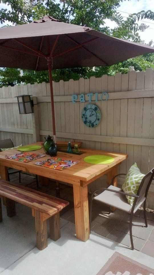 Patio 2x4 Picnic Table With Bench And Built In Cooler Home