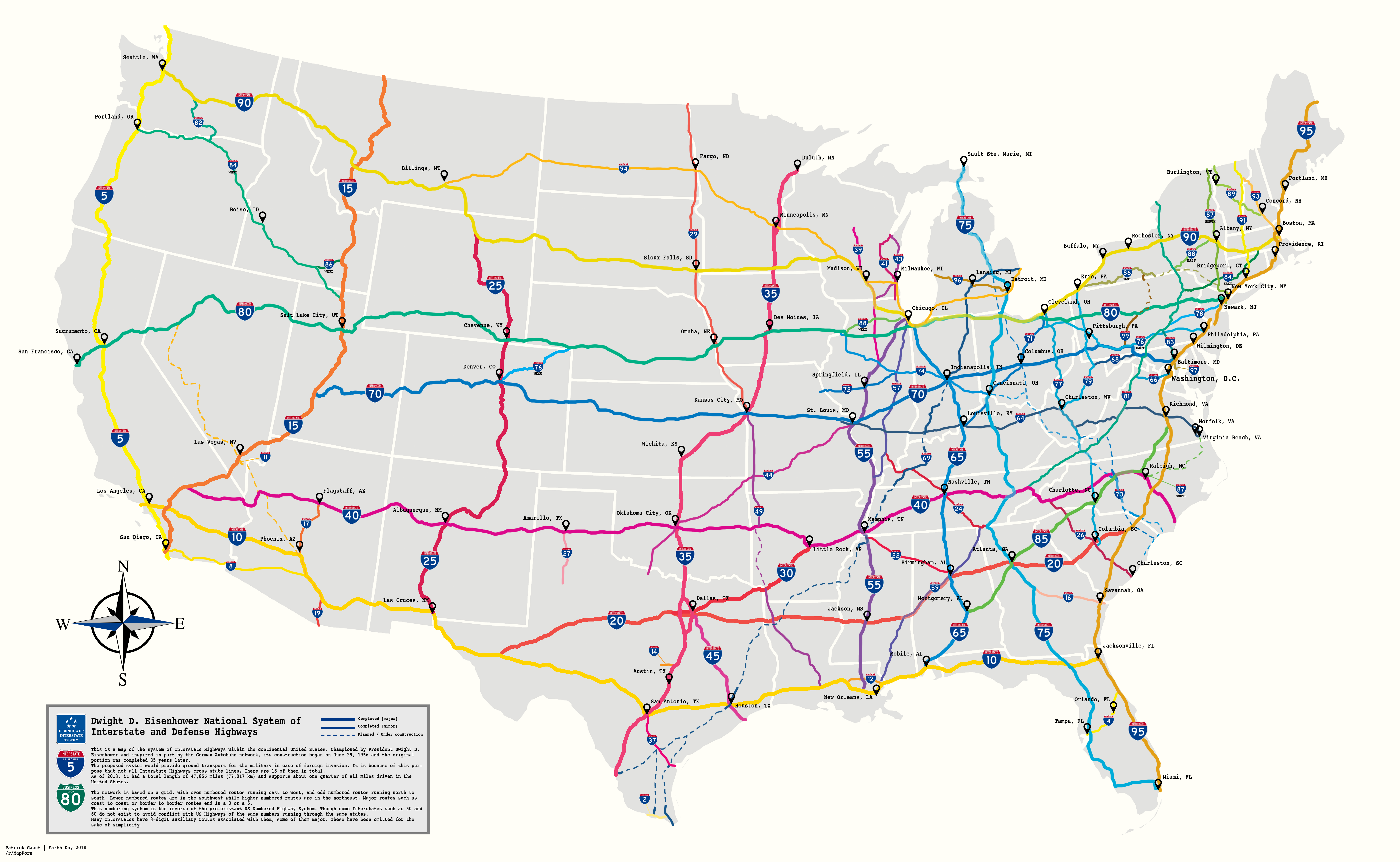 Us Map Highways And Interstates Map of US Interstate Highways | Highway map, Map, Us map