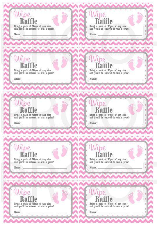Wipe Raffle Tickets Printable Baby Shower Raffle Tickets Grey Pink Baby Feet Baby Shower Instant Download Printable Tickets Raffle Tickets Printable Baby Shower Printables Baby Shower Raffle