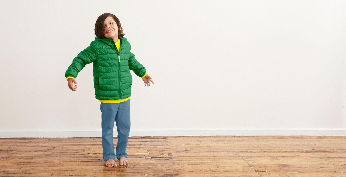 Child Wearing The Lightweight Puffer Jacket In Kids Size 4 5 And Color Grass Kids Puffer Vest Puffer Jackets Jackets [ 750 x 1465 Pixel ]
