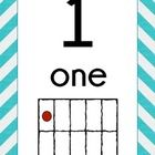 This is a set of teal chevron number signs.  Included are numbers 1-20. Each sign has the number, number word and ten frame for the number.  Displa...