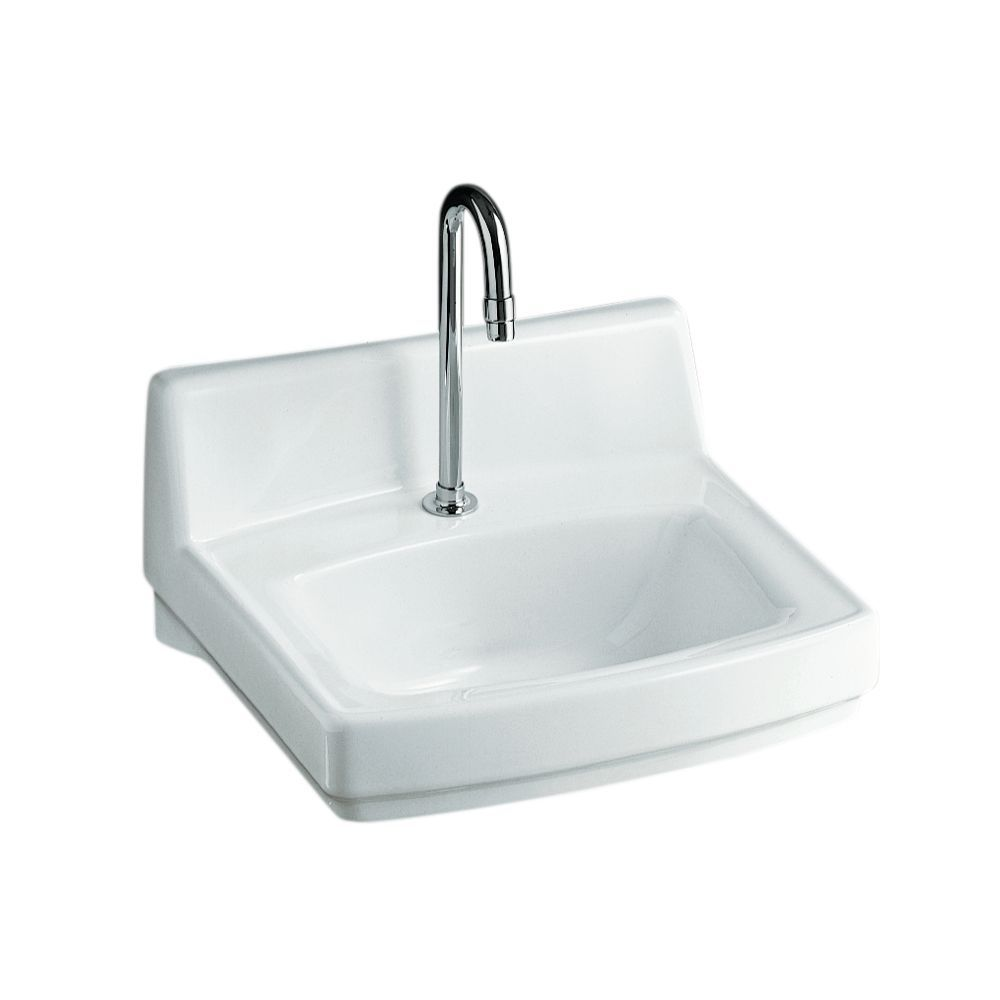 Greenwich wallmount bathroom sink in white rectangular