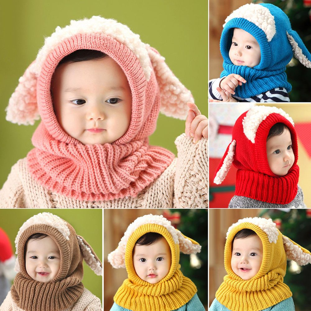 81a51193f87e9 Winter Baby Rabbit Ears Knitted Hat Cap Toddler Warm Hooded Scarf Earflap  Exotic  fashion  clothing  shoes  accessories  babytoddlerclothing ...