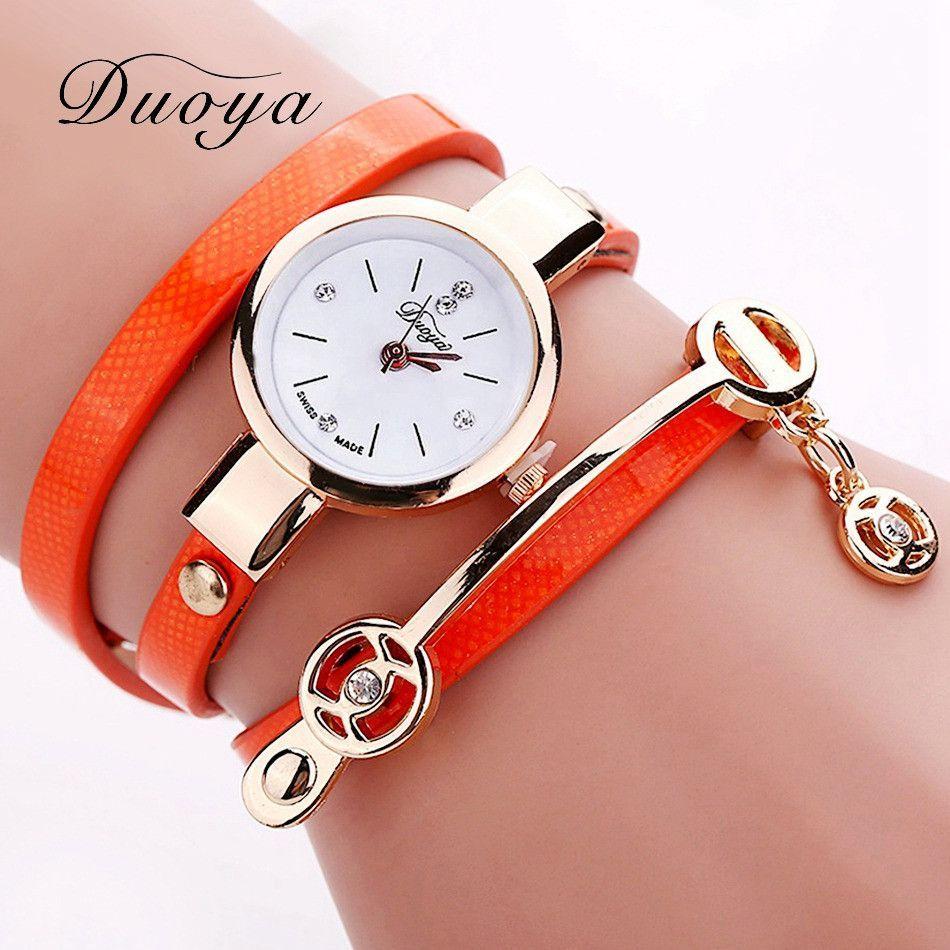 Duoya fashion women bracelet watch gold quartz wristwatch women
