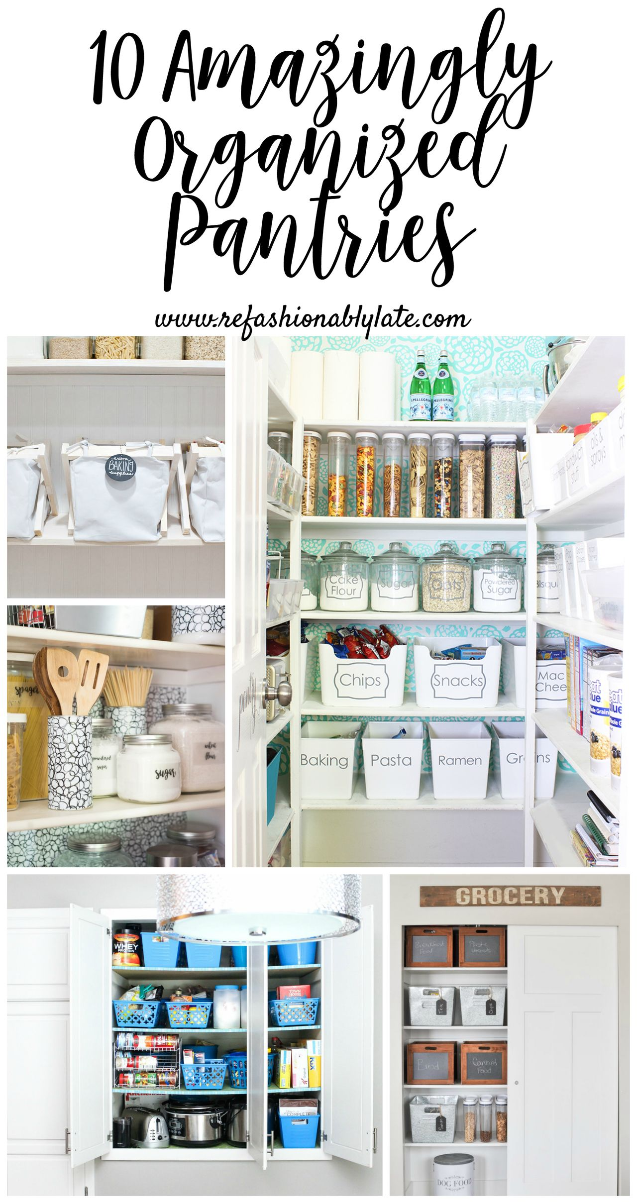 10 amazingly organized pantries for your viewing pleasure. They aren't just organized but pretty too! Who else feels the need to get everything organized right now!? http://refashionablylate.com/2018/01/12/10-amazingly-organized-pantries/