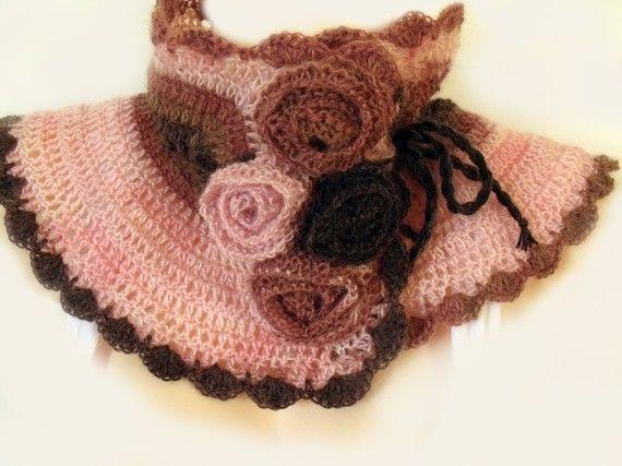 Crochet collar, Crochet neckwarmer, Crochet cowl, Collar scarf, Cowl ...