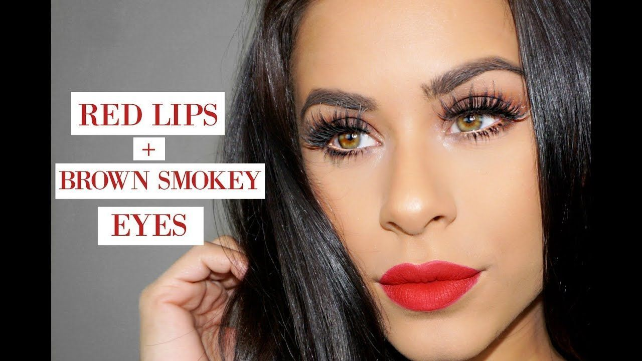 Red Lips + Brown Smokey Eyes Makeup Tutorialbrown eyes