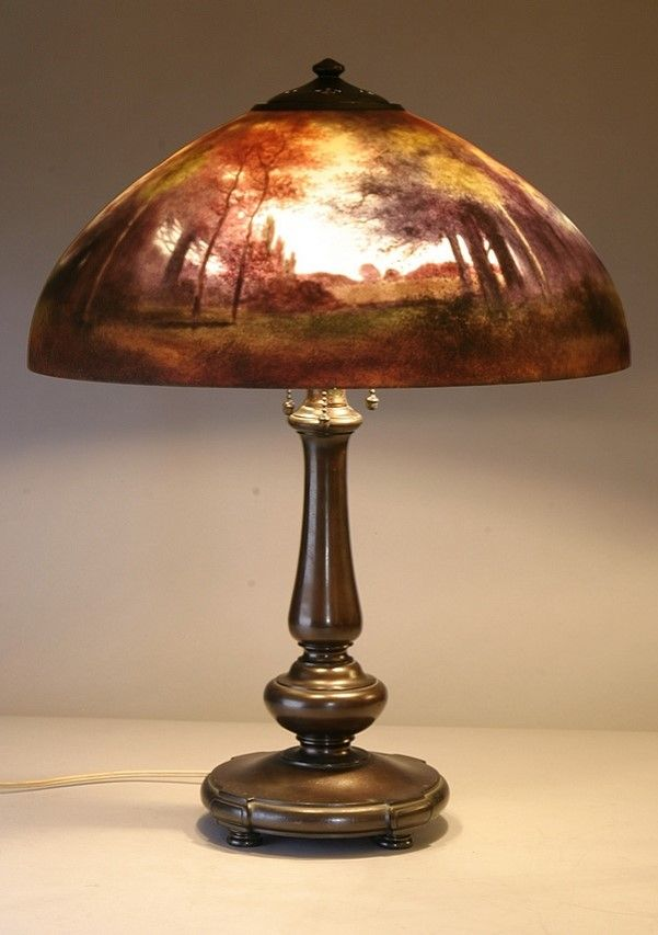 This fabulous reverse painted handel lamp with dome shaped shade is this fabulous reverse painted handel lamp with dome shaped shade is decorated with a landscape mozeypictures Choice Image