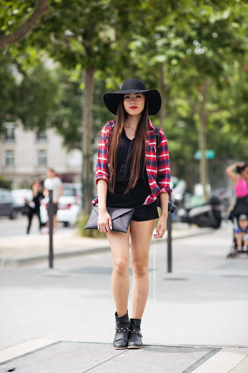 Flannel shirt with shorts  Carolines Mode  StockholmStreetStyle  Sommer  Pinterest  Fashion
