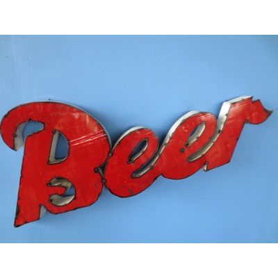 Rustic Arrow Beer Sign Wall Décor Size: Large
