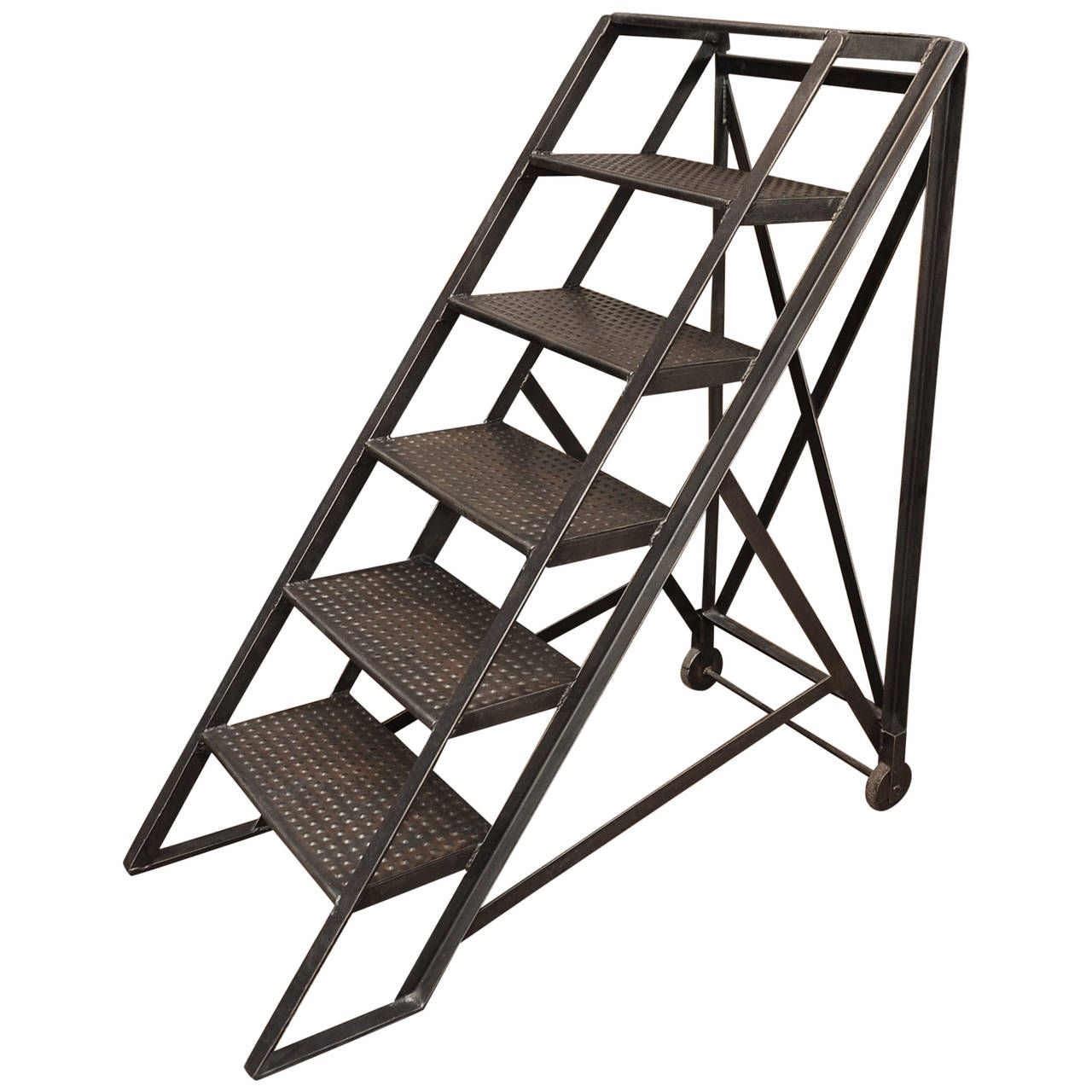 Vintage French Factory Steel Industrial Ladder Steps From A