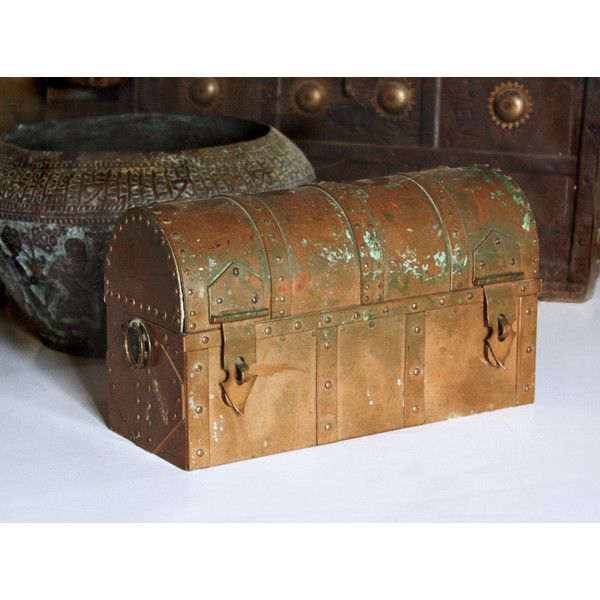 Masculine Solid Copper Industrial Hand Made Dome Top Box OOAK ($325) Via  Polyvore Featuring