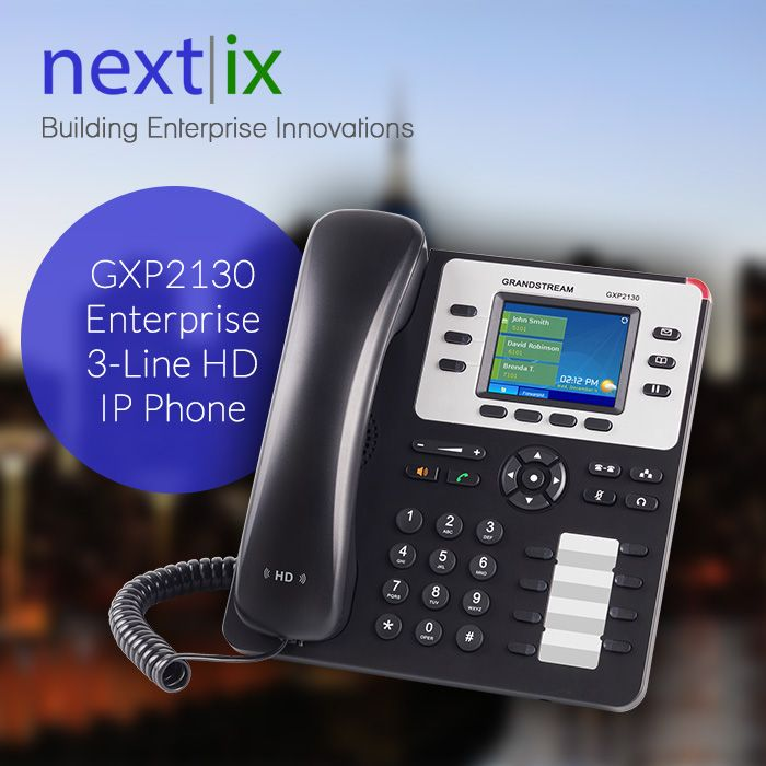 GXP2130 Enterprise 3-Line HD IP Phone  Automated provisioning using TR-069 or AES encrypted XML configuration file, TLS/SRTP/HTTPS for advanced security and privacy protection 3 dual-color line keys (with 3 SIP accounts), 4 programmable context- sensitive soft keys, up to 4-way conferencing, and 8 dual-color BLF extension keys.