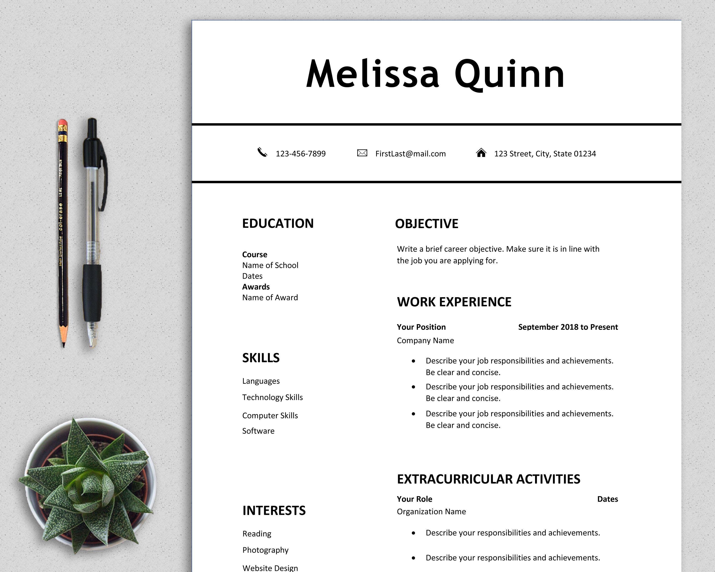 student resume template word  simple  modern  clean  easy