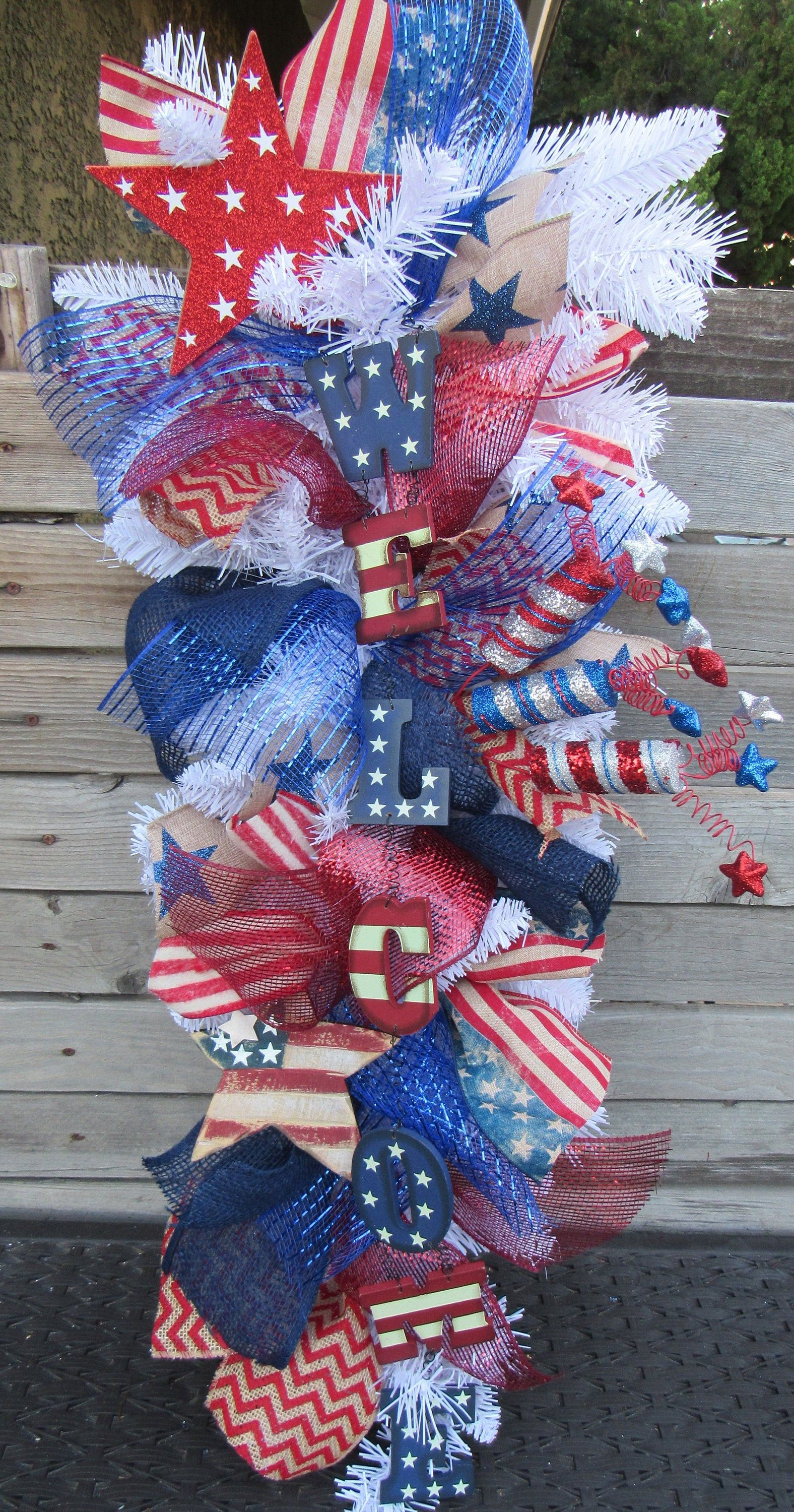 4th Of July Welcome Wreath July 4th Swag Patriotic Door Decor Welcome Red White Blue Wreath Flag Star Door Decor Red White Blue Wreath Blue Wreath Wreath Decor