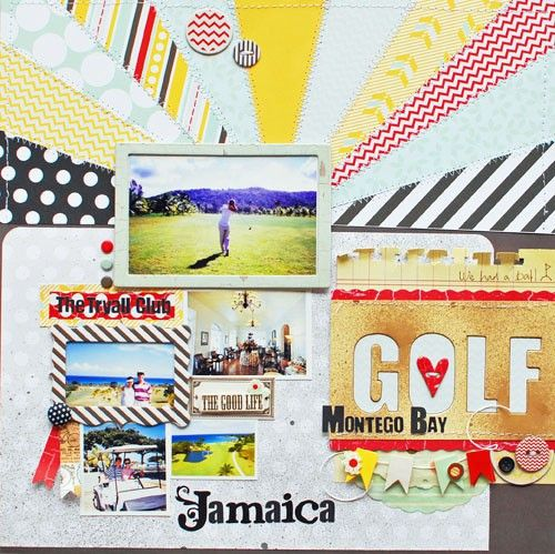 GOLF *Fancy Pants* by yuki.s @2peasinabucket Such a fun bright sunburst! Very awesome! Love the collage/arrangement of frames and bits under the focal photo. #scrapbooking #layout