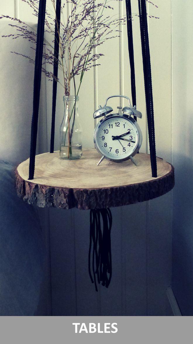 handgemaakte hangende tafel te gebruiken als bijzettafel nachtkastje. Black Bedroom Furniture Sets. Home Design Ideas
