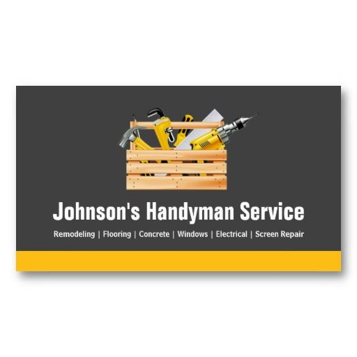 Handyman Service Company Equipment Toolbox Business Card - Handyman business card template