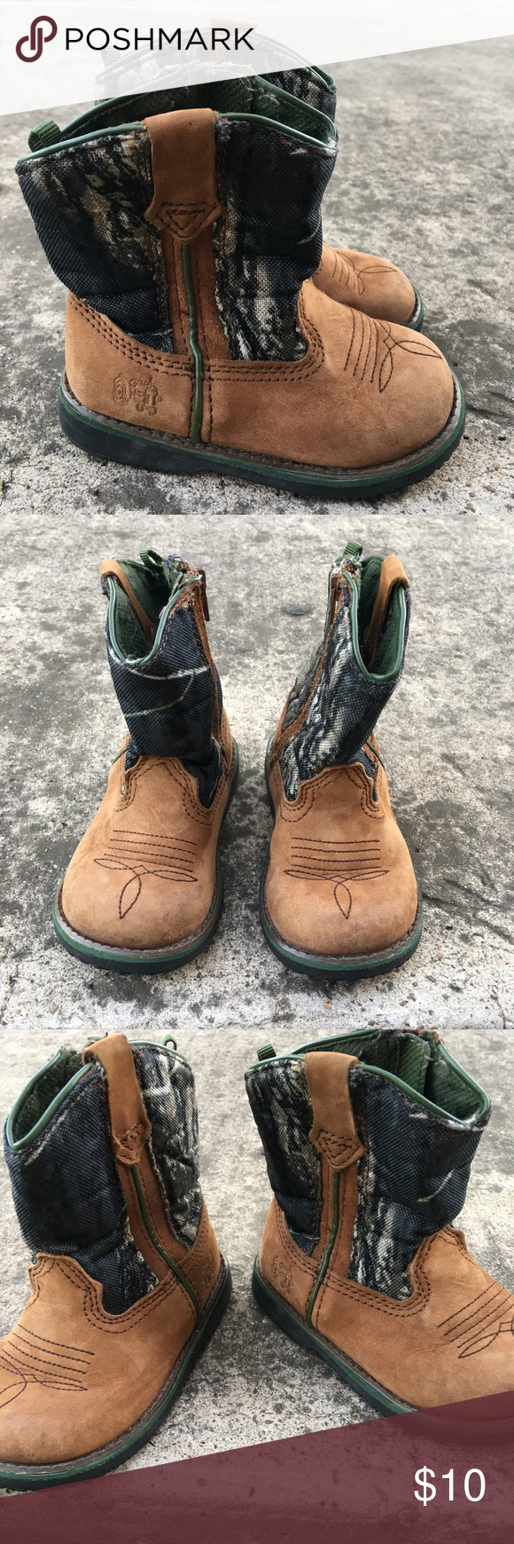 Johnson Deere Cowboy Boots for Kids Baby Boy/ Toddler Cowboy boots half camouflage and  brown - good condition John Deere Shoes Boots