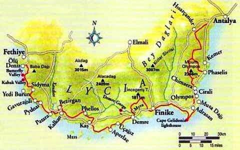 Likya Yolu Haritas Likya Pinterest Fethiye Hiking trails and