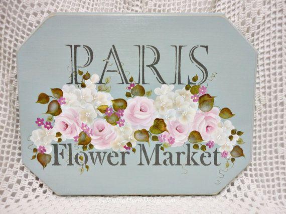 Shabby Paris Flower Market Wood Sign Hand by CelestinaMarieDesign, $48.50