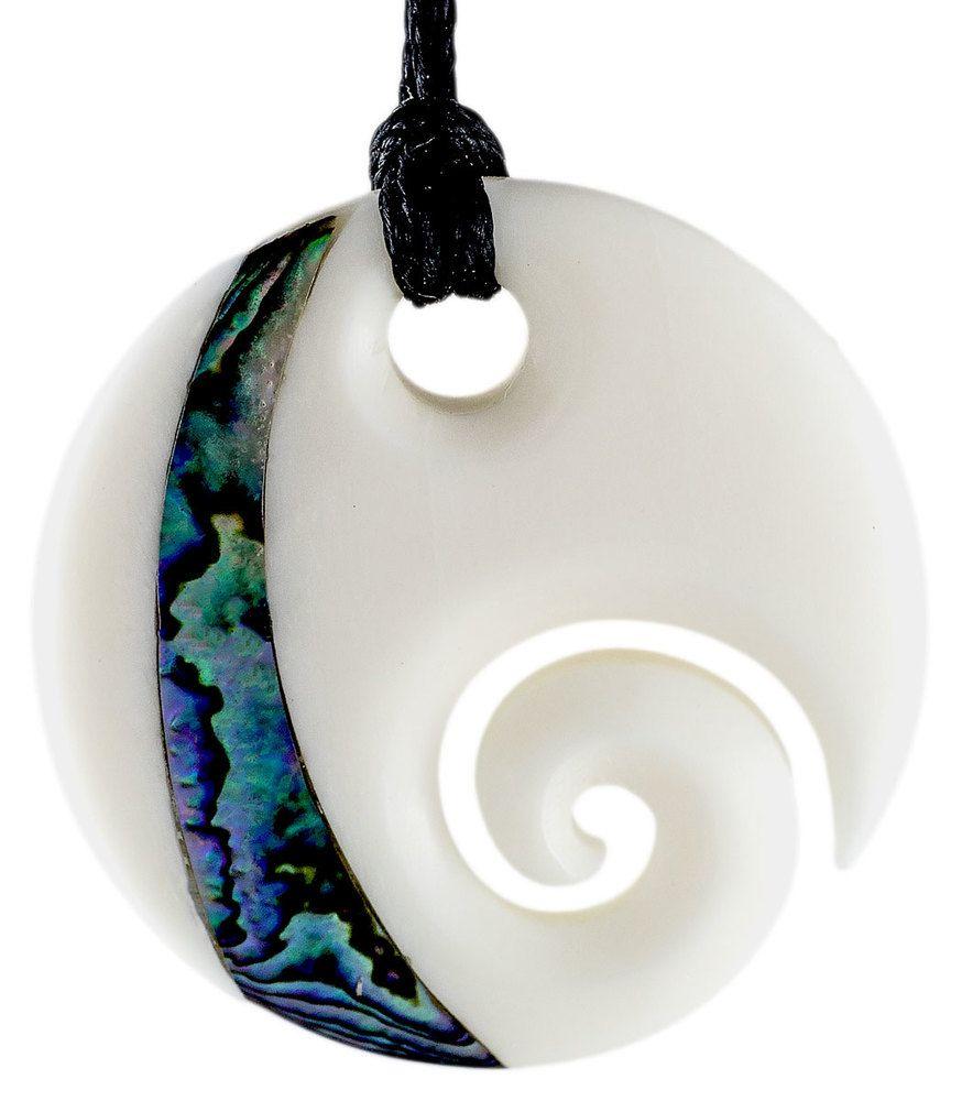 Maori bone disc open spiral koru paua circle necklace in art