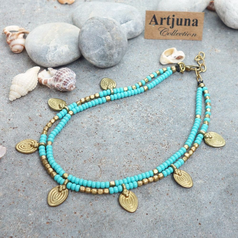 ankle bracelets for rose anklet feet pyroeis right bracelet turquoise yellow golden girls gold