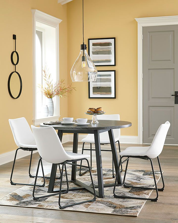 Centiar Round Dining Room Set W White Chairs In 2020 Round Dining Room Sets Round Dining Casual Dining Rooms