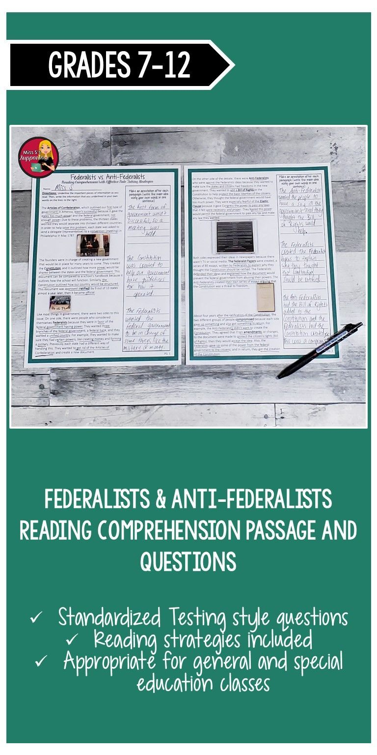 Federalists And Anti Federalists Reading Comprehension Constitution U S Reading Comprehension Social Studies Middle School Reading Comprehension Passages [ 1536 x 768 Pixel ]