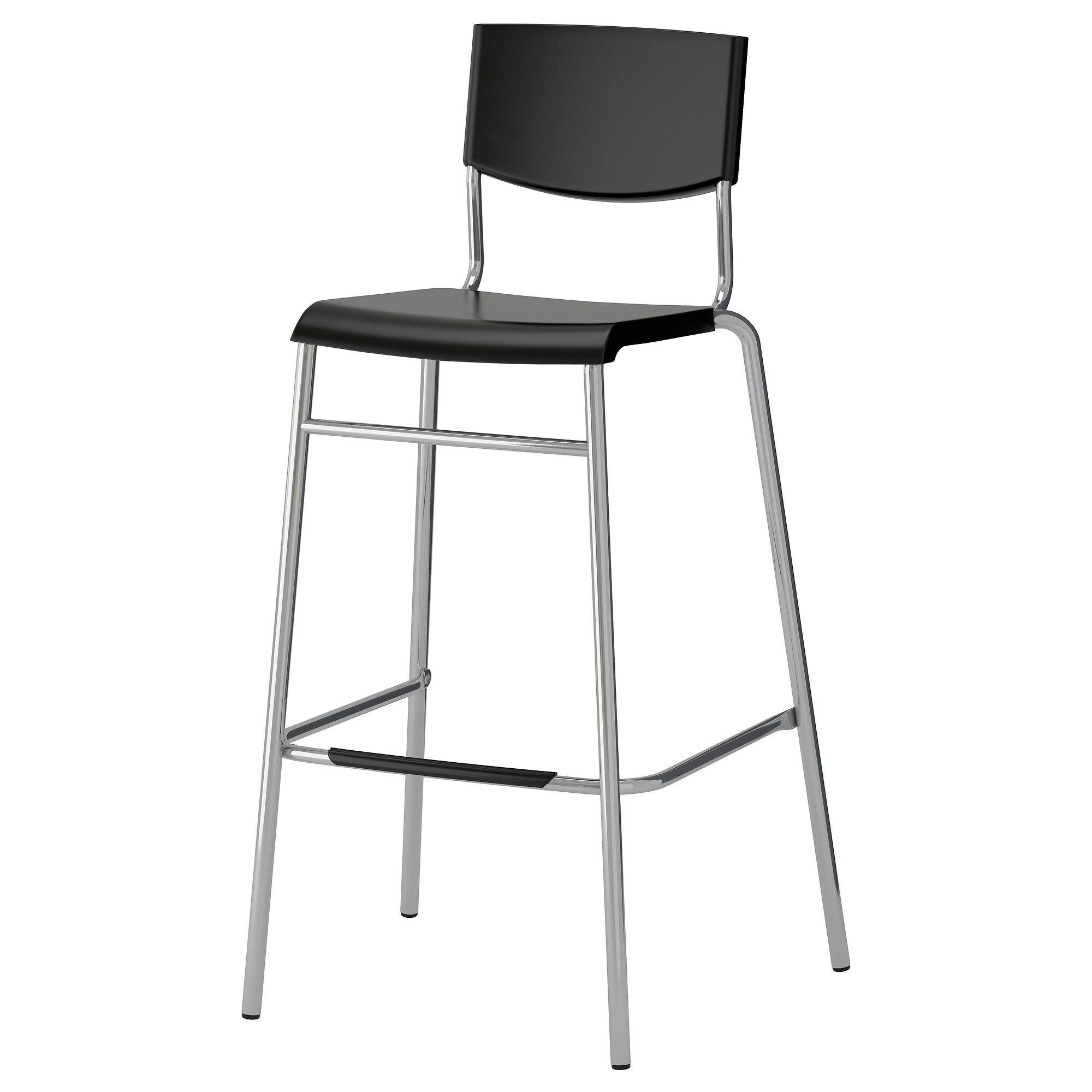 Stig Bar Stool With Backrest Black Silver Color Home Furniture