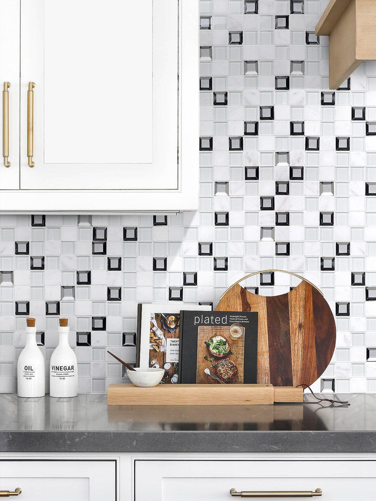 Modern White Glass Marble Mirror Backsplash Tile Backsplash Com Modern Kitchen Backsplash White Tile Kitchen Backsplash Kitchen Tiles Backsplash