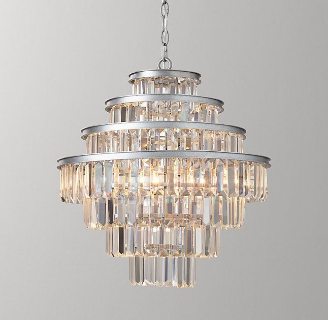 Alaine Crystal Medium Pendant Aged Silver Silver Pendant Lamp Chandeliers And Pendants Antique Brass Frame