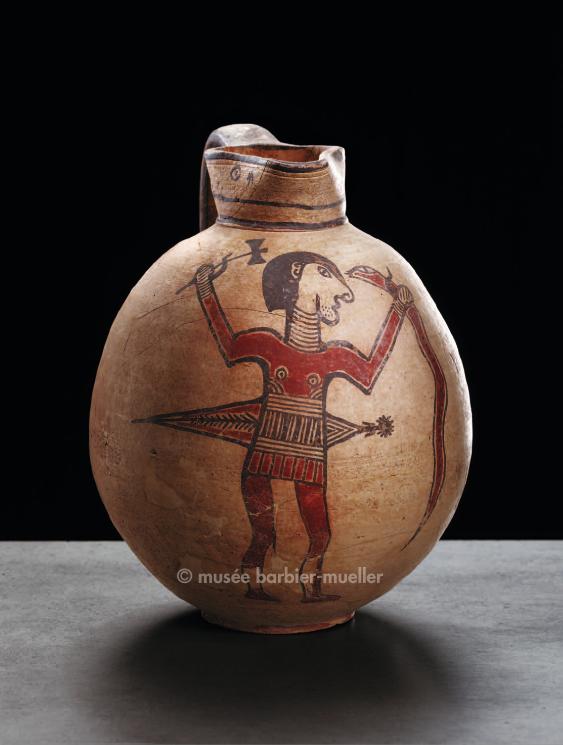 Affrontement entre un héros casqué et un gros serpent, qu'il va frapper avec la hache bipenne qu'il brandit de la droite, tandis qu'une énorme épée, dans son fourreau, est fixée à sa taille, Oenochoé, Chypre, civilisation grecque, 670-600 avant JC, type Free Field bichrome IV