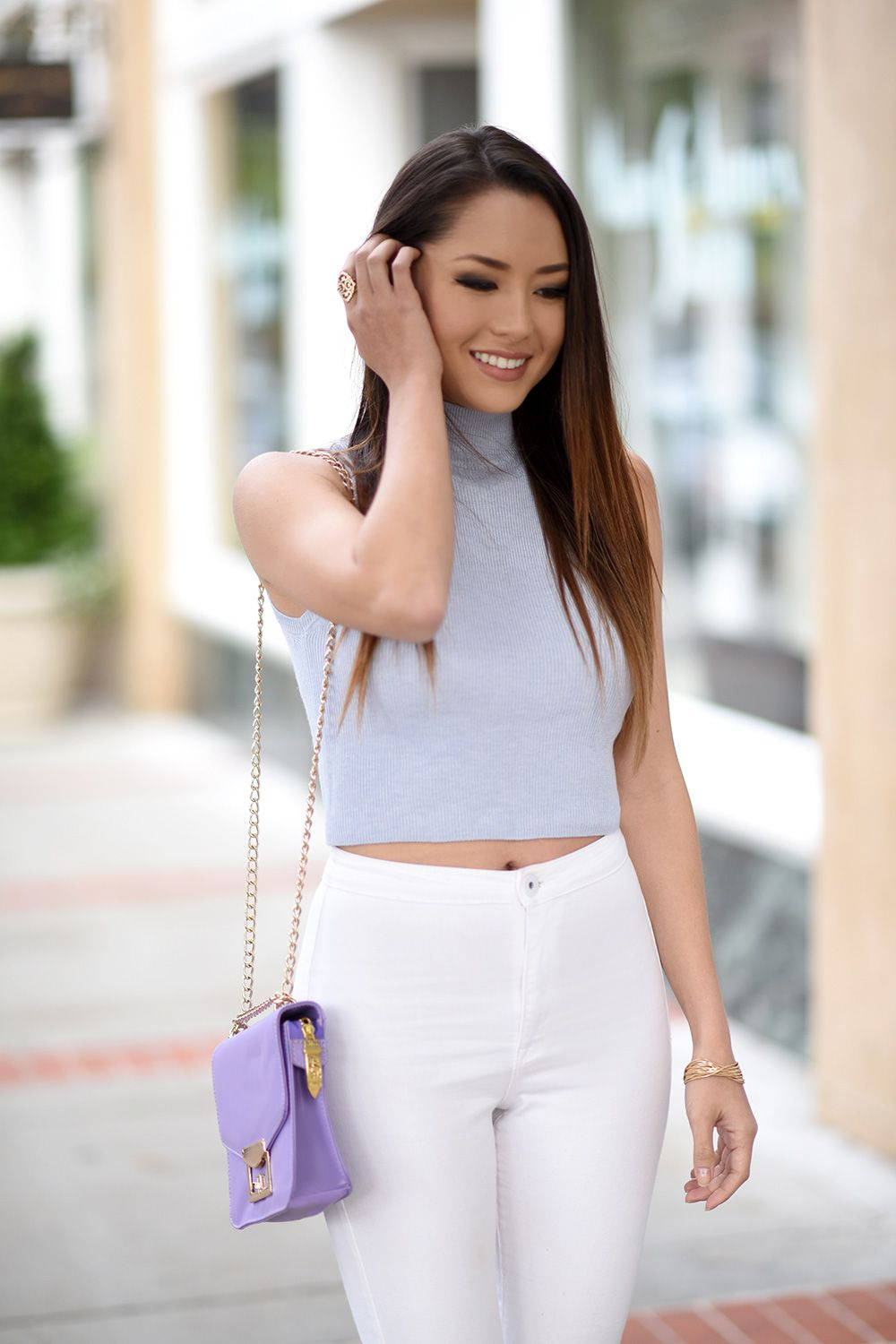 Jessica Ricks and Hapa Time Fashion: Light blue round neck cotton-top and white longs... #9B