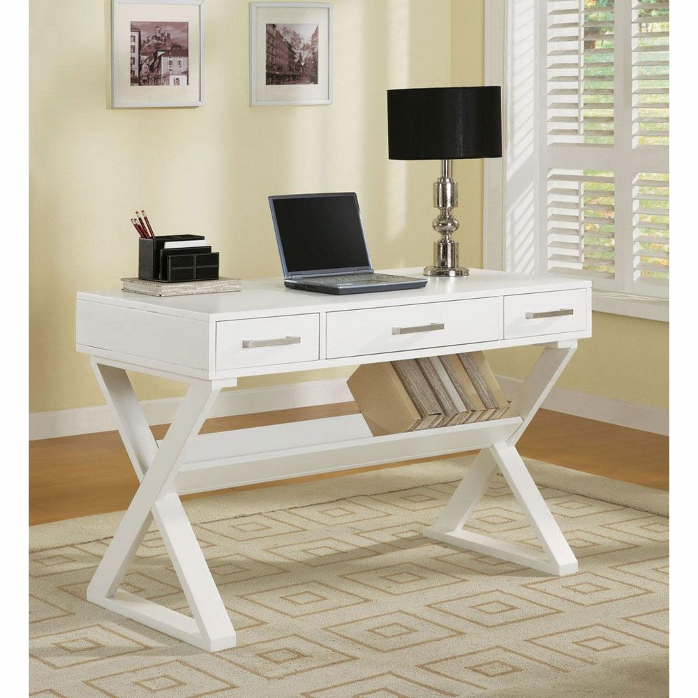 Perfect Contemporary Table Desk With Cross Legs   White