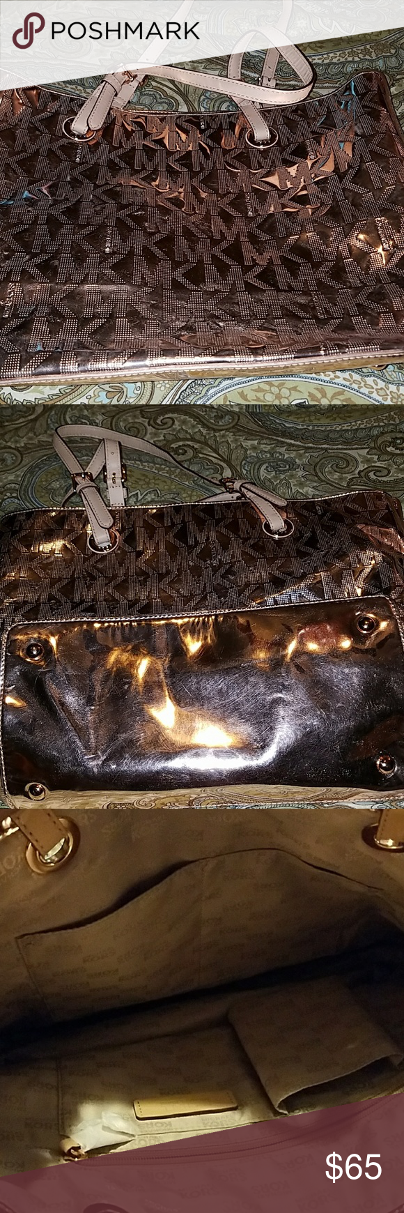 """Michael Kors Bag Pink Michael Kors bag with inside zip pocket and four separate pockets to store your cell phone, wallet, etc. 16"""" length and 10"""" in height. 7"""" strap drop. Good condition. Very minor wear. Michael Kors Bags Shoulder Bags"""