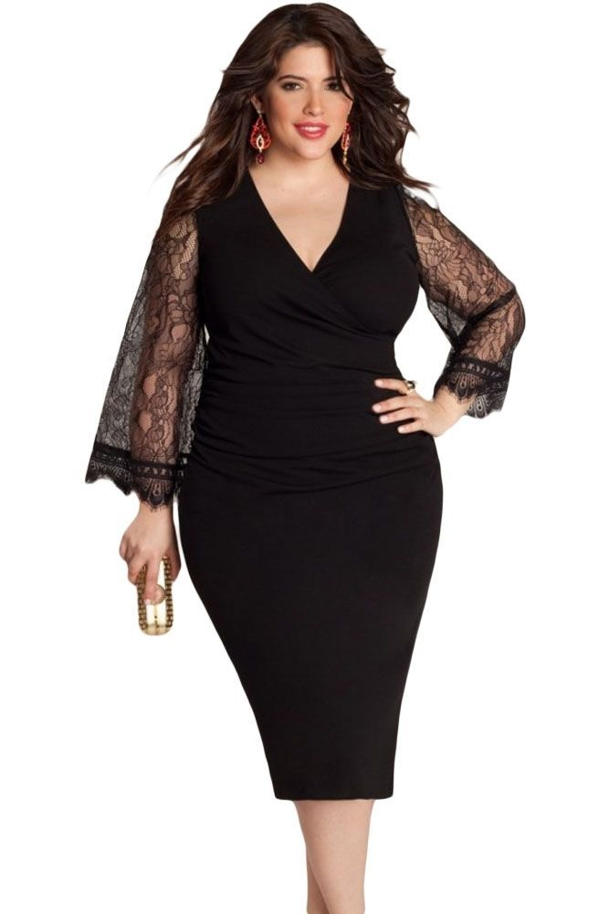 3-DAY SHIP! Plus Size Black Lace Overlay Skater Dress Womens 2XL ...