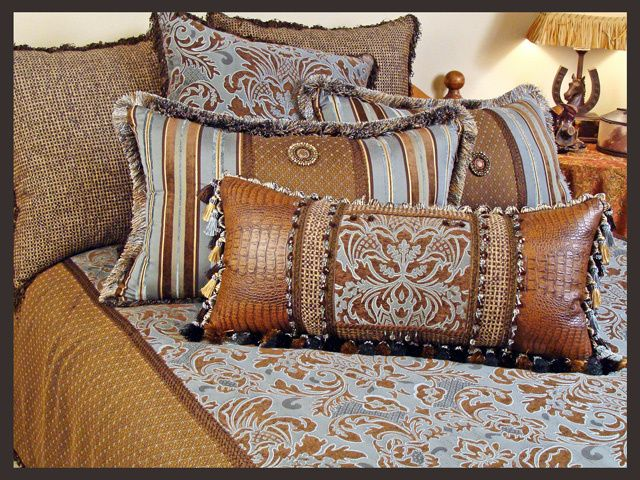 The Powderhorn Bedding Collection is designed for a southwestern, western, lodge, ranch, cabin or rustic mountain bedroom.