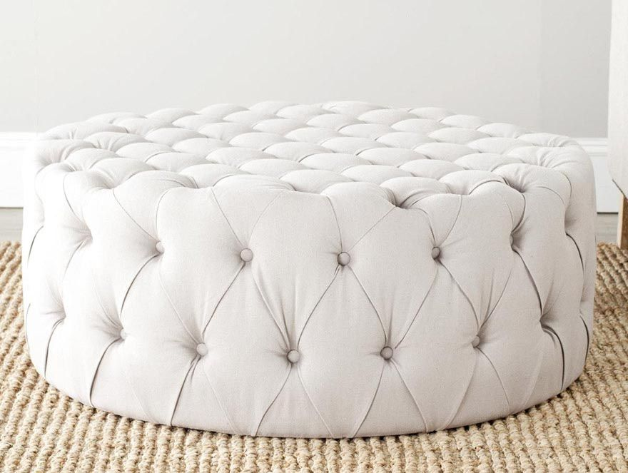 Round Ottoman Coffee Table Upholstered
