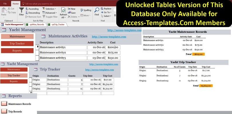 Yacht Management For Microsoft Access Templates And Database