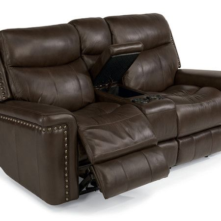 Flexsteel Grover Leather Power Reclining Loveseat With