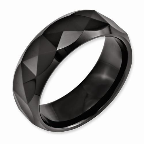 Chisel Ring Ceramic Faceted Black 8mm Polished Beveled Edge Wedding Band