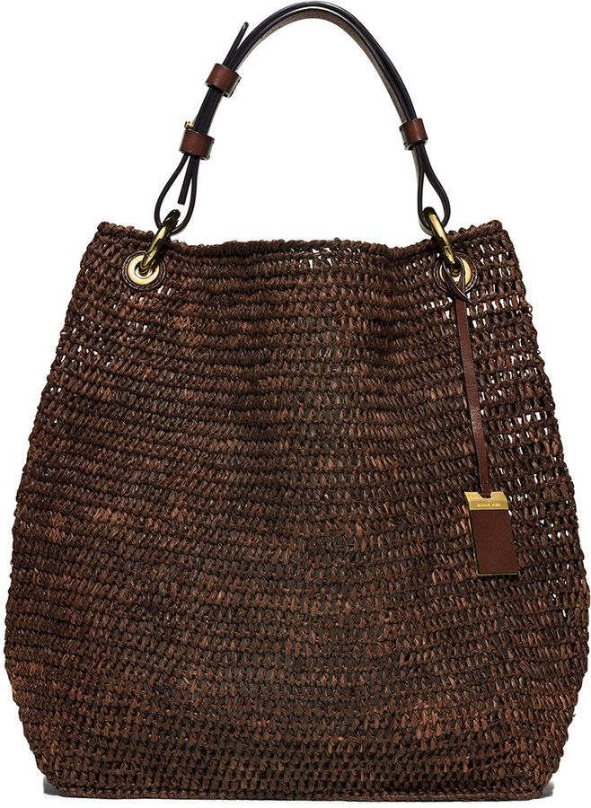 8eea00da1d1f Michael Kors Collection Santorini Large Raffia Shoulder Bag, Nutmeg ...