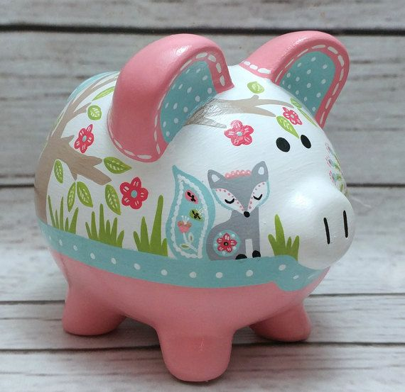 personalized piggy bank mint and coral woodland animals artisan