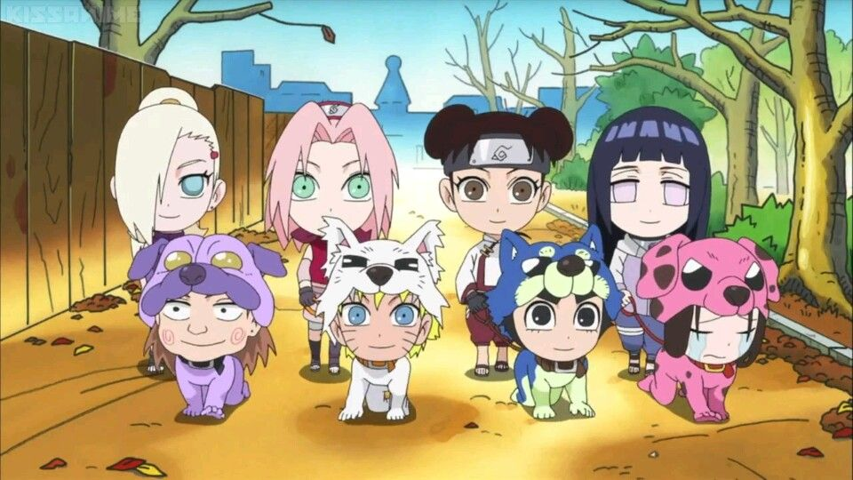 NarutoSD: Rock Lee and His Ninja Pals || Dogs Need Friends Too || In order to help Akamaru make new friends at the new doggie cafe, our Naruto girls dress up the boys...AS DOGS?! (Naruto was kind of cute LOL)