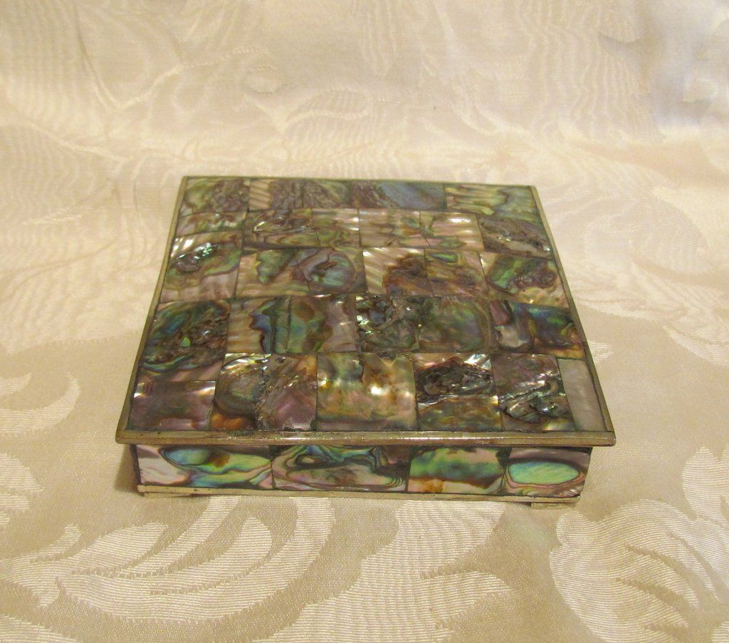Abalone Cigarette Box 1940s Silver Tabletop Cigarette Case Vintage